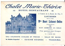 Cdv  Chalet Marie Therese  Lourdes - Cartes De Visite