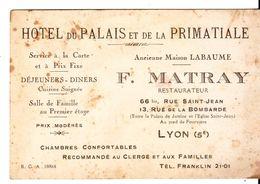 Cdv  Hotel Du Palais Lyon - Cartes De Visite