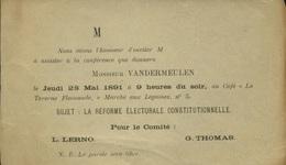 Invitation à Une Conférence Du 28 Mai 1891 Sur La Réforme électorale - Oude Documenten