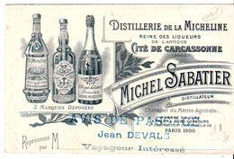 Cdv   Distillerie De La Micheline  Carcassonne - Cartes De Visite