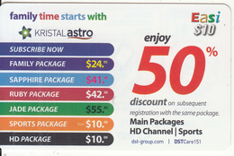 BRUNEI - Kristal Astro, DST Recharge Card $10, Exp.date 12/04/15, Used - Brunei