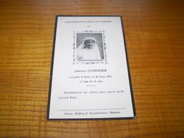 Faire Part Avis De Décès à 15 Ans De Jeanne Cuisinier ;photo Boffety & Gouttebaron Roanne Loire. 1921 - Décès