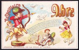 Belle Et Rare CHROMO  A La Ville De Saint-Denis Signe Astrologique Le Sagillaire  9.bre   Lith. May & Deymarie  Zodi - Autres