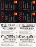ARMENIA - 4 Orange Mini Prepaid Cards 1000 AMD(white Band), Used - Armenia