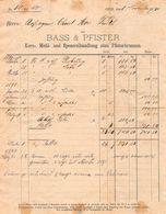 Bass & Pfister, Korn-, Mehl- Und Spezereihandlung, Datiert 1891 - Suisse