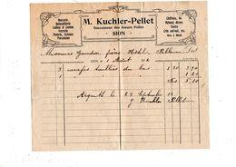 Facture De M. Kuchler Pellet Sion à Gaudin Frères Hôtel Bellevue Evolène - Decrees & Laws