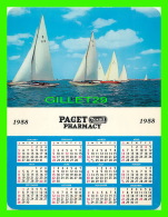 CALENDRIERS - PAGET REXALL PHARMACY, 1958 -  PUB BY THE BERMUDA DRUG CO LTD - DIMENSION 14 X 18 Cm - - Calendriers