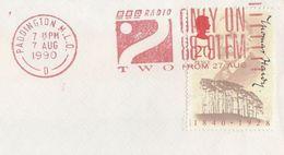 1990 GB COVER SLOGAN Pmk 'BBC RADIO 2 ONLY On 88-91 FM FROM 27 AUG' Paddington, Hardy Literature Stamps Broadcasting - 1952-.... (Elizabeth II)