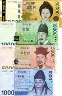 SOUTH KOREA 1000 5000 10000 50000 WON ND (2006-2009) P-54,55,56,57 UNC - Korea, South