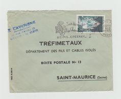 """LSC 1965 - Flamme """"sur Les Routes De Champagne REIMS ..EPERNAY.."""" Sur YT 1392A - Marcophilie (Lettres)"""