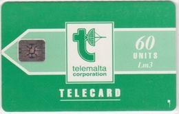 230/ Malta; P9. Telemalta Logo - Short Antenna, 60 Ut., SC4, CN C29040618 - Malta