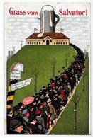 CPA Publicité Publicitaire Réclame écrite Bière Bier Brasserie Salvator Keller Gruss - Pubblicitari