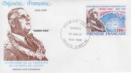 Enveloppe  FDC  1er  Jour   POLYNESIE   Hommage  Au  Général  DE  GAULLE  1990 - De Gaulle (Général)