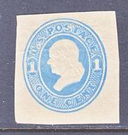 US CUT  SQUARE U  114  AMBER  *   1874-86  ISSUE - Postal Stationery