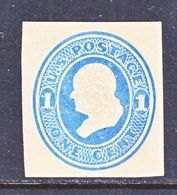 US CUT  SQUARE U  115  CREAM  *   1874-86  ISSUE - Postal Stationery