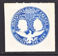 US CUT  SQUARE  U 348      *   1893  ISSUE  COLUMBIA  EXPO. - Postal Stationery