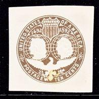 US CUT  SQUARE  U 351      *   1893  ISSUE  COLUMBIA  EXPO. - Postal Stationery