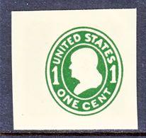 US CUT  SQUARE  U 401  DIE I  AMBER    *   1907-16  ISSUE - Postal Stationery