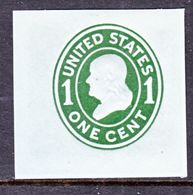 US CUT  SQUARE  U 403   DIE  I   *   1907-16  ISSUE - Postal Stationery