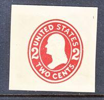 US CUT  SQUARE  U 406   DIE  I   *   1907-16  ISSUE - Postal Stationery