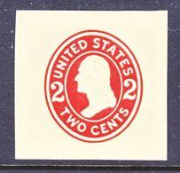 US CUT  SQUARE  U 407   DIE  I  AMBER *   1907-16  ISSUE - Postal Stationery