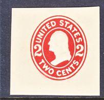 US CUT  SQUARE  U 408   DIE  I  BUFF   *   1907-16  ISSUE - Postal Stationery