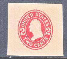 US CUT  SQUARE  U 413 G    DIE  8   BUFF    *   1907-16  ISSUE - Postal Stationery
