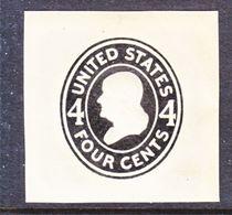 US CUT  SQUARE  U 416 A    DIE I     *   1907-16  ISSUE - Postal Stationery