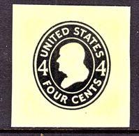 US CUT  SQUARE  U 417    DIE II   AMBER     *   1915  ISSUE - Postal Stationery