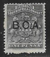 British Central Africa, Scott # 1 Mint Hinged Rhodesia Stamp Overprinted, 1891-5, Some Paper On Back At Bottom - Great Britain (former Colonies & Protectorates)