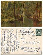 Germany 1946 Postcard Art, Walter Moras, Spreewaldmotiv I, Munich Cancel, Scott 542 - Paintings