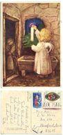 Germany, West 1976 Postcard Angel & Candle, Manneheim To U.S., Scott 1228 & B357 - Angels