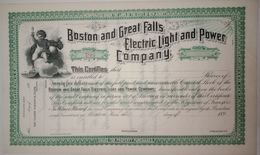 Share Certificate, Electricity, Bulb USA - Electricité & Gaz