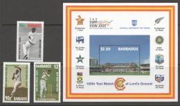 BARBADOS 2000  100 Test Cricket Match   Set Of 3 + Souvenir Sheet UM - MNH - Barbados (1966-...)