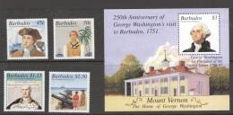 BARBADOS 2001    George Washington's Visit To Barbados 250th Ann. Set Of 4 + Souvenir Sheet   MM- MH - Barbados (1966-...)