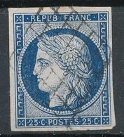 N°4 VARIETE POINT BLEU DANS CADRE TIMBRE 1er CHOIX GRILLE 1849 - 1849-1850 Cérès