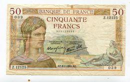 Billet De 50 F 1940 :   CERES       A   VOIR   !!! - 50 F 1934-1940 ''Cérès''