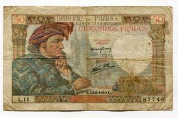 Billet De 50 F 1940   :   Jacques   COEUR         A   VOIR   !!! - 1871-1952 Anciens Francs Circulés Au XXème