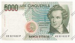 BANCONOTA DA 5.000 LIRE BELLINI REP. ITALIANA SPL/QFDS - - [ 2] 1946-… : Républic