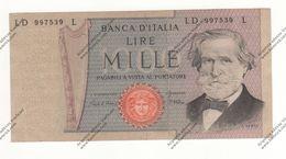 BANCONOTA DA 1.000 LIRE VERDI DEL 1969 REP. ITALIANA - - [ 2] 1946-… : République