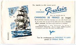 Buvard  21.6 X.13.5  Chocolat POULAIN  Chansons Hardi Les Gars   Bâteau à Voile Navire De Guerre Voilier - Cocoa & Chocolat