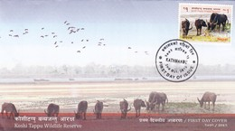 2015 NEPAL FDC WITH LEAFLET WILDLIFE RESERVE ANIMAL COW. - Vaches