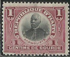 HAITI 1910 PRESIDENT ANTOINE P. SIMON PRESIDENTE CENT. 1c MH - Haiti