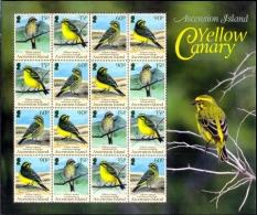 BIRDS-YELLOW CANARY-SHEET-ASCENSION ISLANDS-1993-SCARCE-MNH-M-220 - Climbing Birds