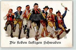 52208122 - Die Sieben Lustigen Schwaben Ziehharmonika Mundharmonika Pfeife - Trachten
