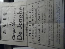 Programme Avis De Passage De Cirque -ménagerie De Jonghe A Mettet Place Jh Meunier 10-8-1949 - Programs