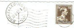 Cachet Ambulant Bruxelles Mons 7 Points Du 22/6/1957 Sur CP Armée Belge Traversée D'une Rivière (Vers Trazegnies) - Bahnpoststempel