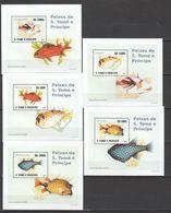 J591 2008 S.TOME E PRINCIPE FISH & MARINE LIFE 5 LUX BL MNH - Fische
