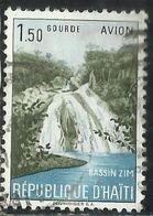 HAITI 1957 AIR MAIL POSTA AEREA WATERFALL BASSIN ZIM 1.50g USATO USED OBLITERE' - Haiti
