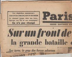 JOURNAL QUOTIDIEN PARIS-SOIR 4 PAGES RECTO VERSO N°6082 LUNDI 13 MAI 1940 2° GUERRE MONDIALE - Journaux - Quotidiens